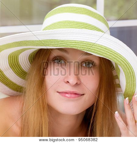 woman straw hat in sunny