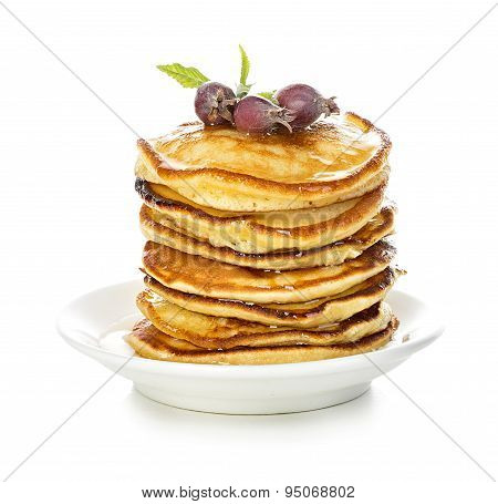Pancakes With Maple Syrup Isolated