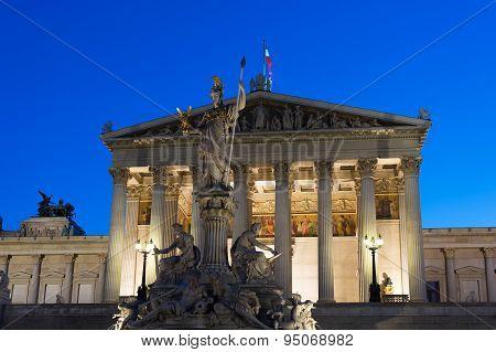 Parliament Vienna At Night