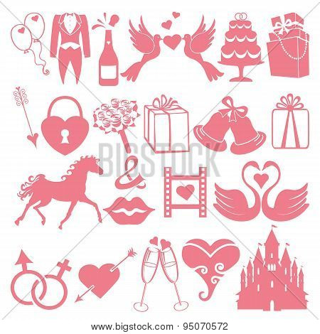 Vector Wedding flat  icons set for Web and Mobile.Pink silhouett