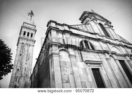 Saint Euphemia Basilica In Rovinj Bw