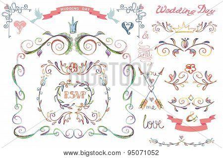 Cute wedding template set.Floral Decor element,headline