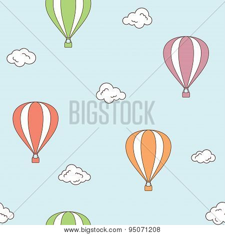 Hot Air Balloons Seamless Background