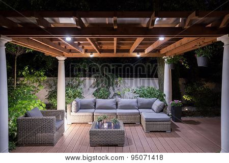 Arbour With Comfortable Garden Furniture