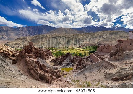 Ruins At Basgo Monastery With Stones , Rocks And A Pond, Top View, Leh, Ladakh, India