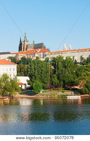 Vitus cathedral over Vltava river,