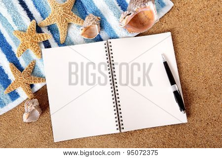 Beach Scene With Blank Writing Book