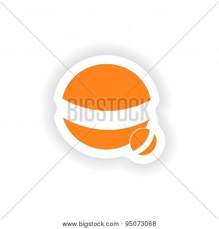 icon sticker realistic design on paper ball dog