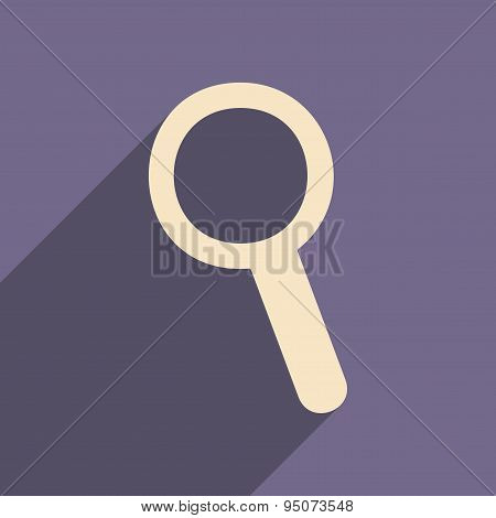 Flat with shadow icon and mobile applacation magnifier
