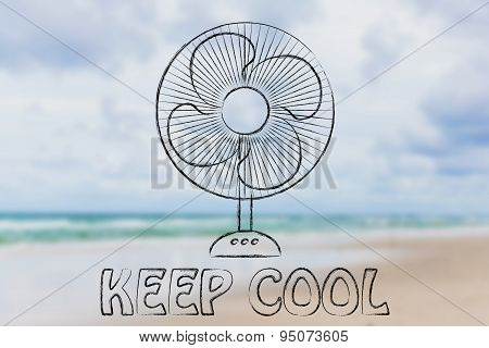 Funny Electric Fan Illustration, Keep Cool And Stay Fresh In The Heat Wave