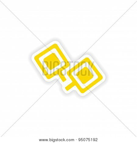 icon sticker realistic design on paper cufflinks