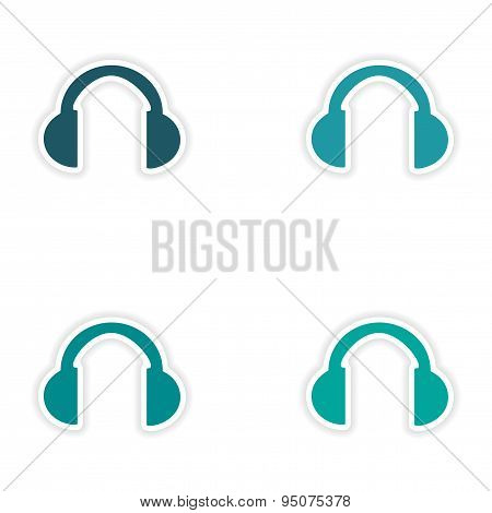 assembly realistic sticker design on paper headphones