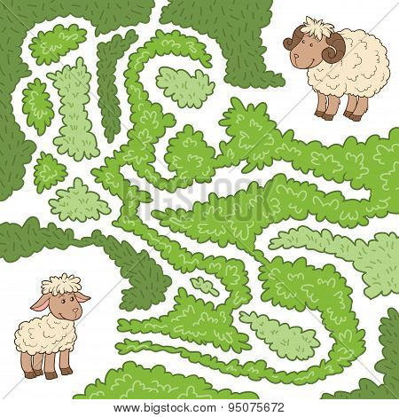 Maze Game: Help The Sheep To Find The Little Lamb