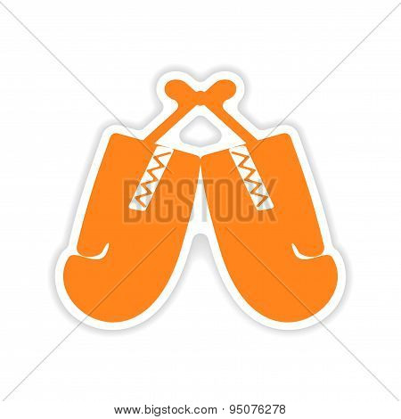 icon sticker realistic design on paper boxing gloves