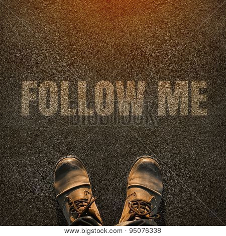 Top View Of Follow Me Request Concept For Social Networking On Internet With Hipster In Leather Boot