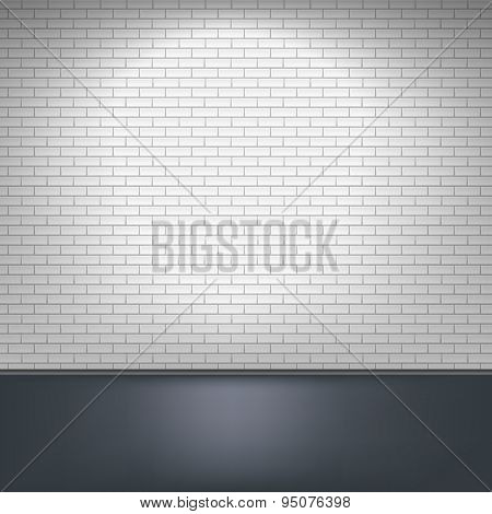 White brick wall and floor.