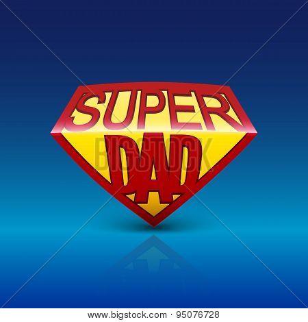 Super dad shield on blue background.