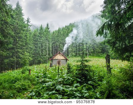 Mountain Shelter In Carpathians During Inclement Weather