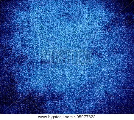 Grunge background of Bleu de France leather texture