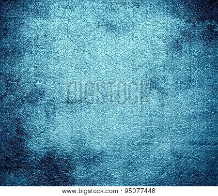 Grunge background of blizzard blue leather texture