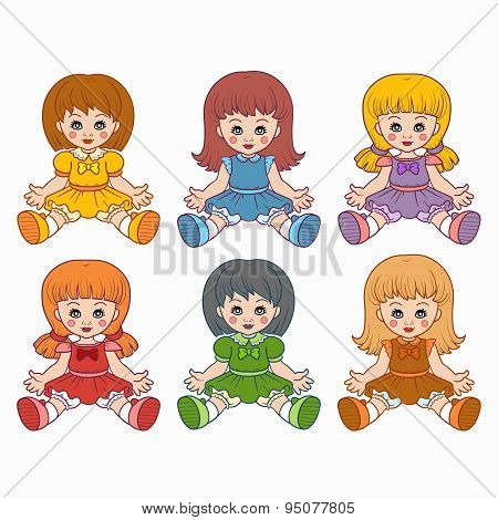 Colorful vector set with dolls for kids