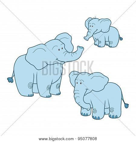 Vector set with cute blue elephants family