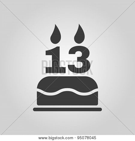 The Birthday Cake With Candles In The Form Of Number 13 Icon. Birthday Symbol. Flat