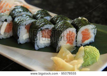 Fresh,delicious Sushi and horseradish