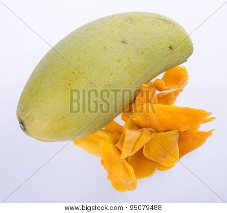 Mango Dry Or Dried Mango Slices On Background.