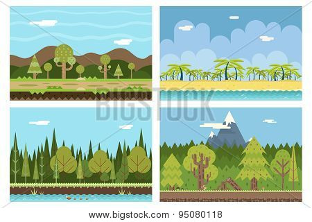 Road Beach Ocean Sea Wood River Mountain Nature Concept Flat Design Landscape Background Template Ve
