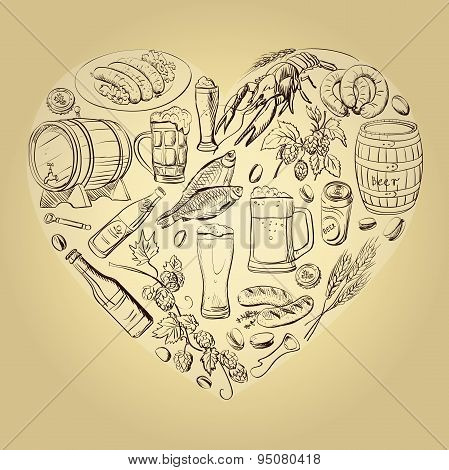 beer hand drawing Heart Background