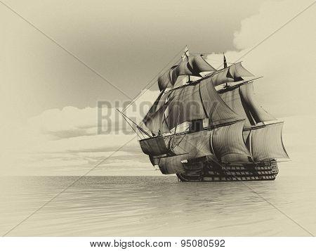 Old ship HSM Victory - 3D render