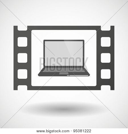 35Mm Film Frame With A Laptop