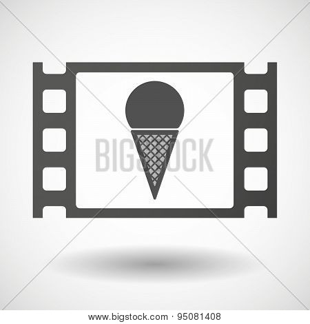 35Mm Film Frame With A Cone Ice Cream