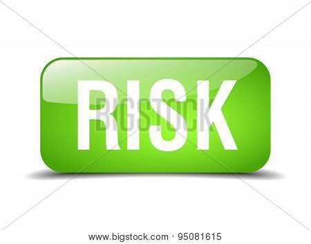 Risk Green Square 3D Realistic Isolated Web Button