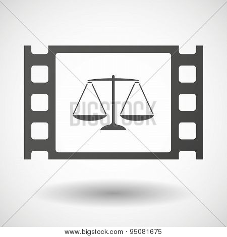 35Mm Film Frame With A Justice Weight Scale Sign