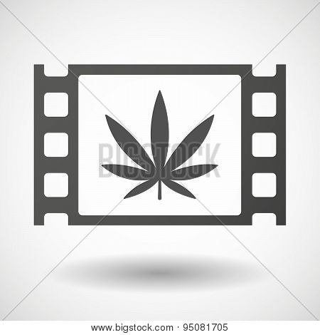 35Mm Film Frame With A Marijuana Leaf