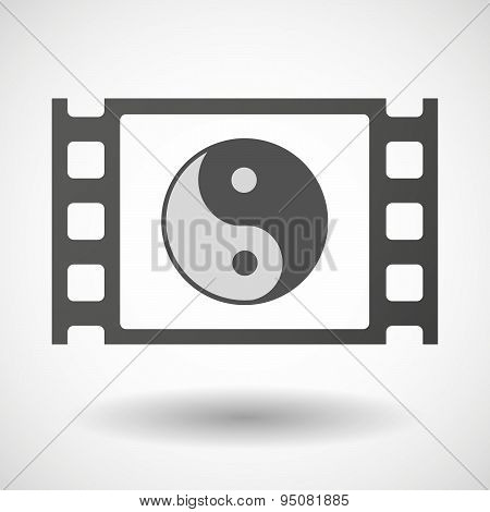 35Mm Film Frame With A Ying Yang
