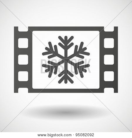 35Mm Film Frame With A Snow Flake