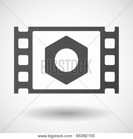 35Mm Film Frame With A Nut