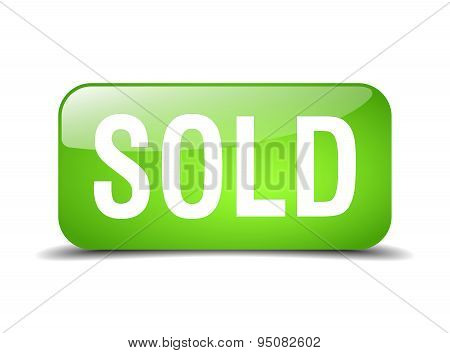 Sold Green Square 3D Realistic Isolated Web Button