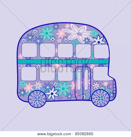 double Decker bus retro vintage flowers hippie