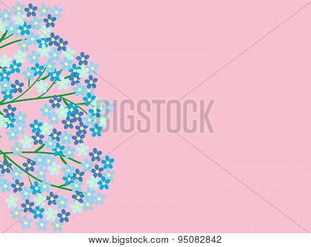 Flowers forget-me-not branch with place for text natural background