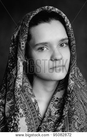 Russian Brunette Girl In Pavlo-posad Russian Shawl Staring Black And White