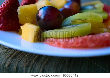 Fruit Platter On A Green Table