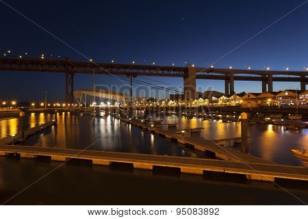 The 25Th April Bridge In Lisbon At Night