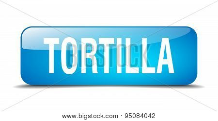 Tortilla Blue Square 3D Realistic Isolated Web Button