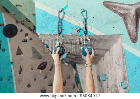 Climber Man Gripping Handhold