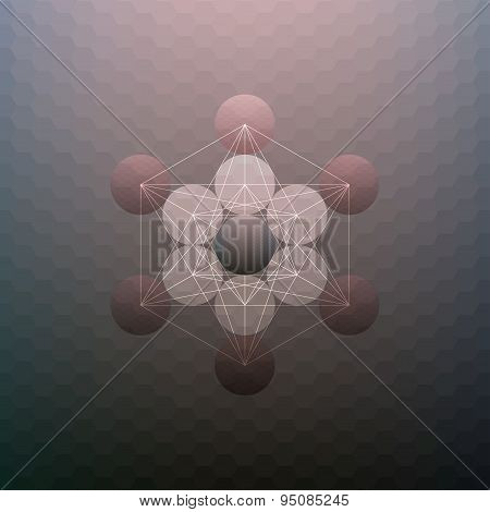 Abstract pattern on blurred hexagonal background, minimalistic geometric template, vector illustrati
