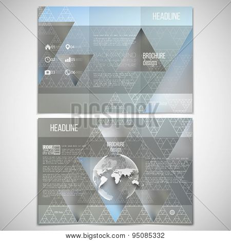 Vector set of tri-fold brochure design template on both sides with world globe element. Triangular p